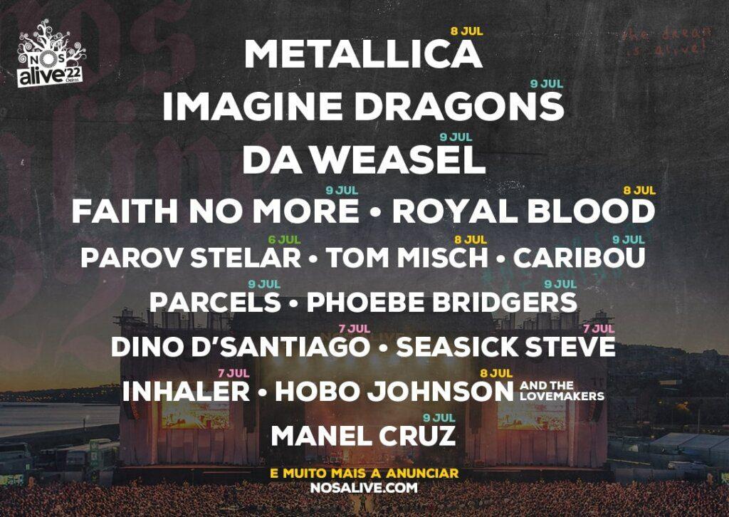 Metallica e Imagine Dragons no NOS Alive 2022
