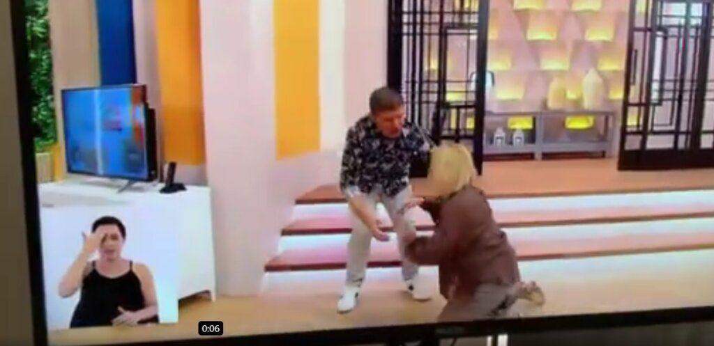 Graça Freitas cai em directo no 'Casa Feliz'