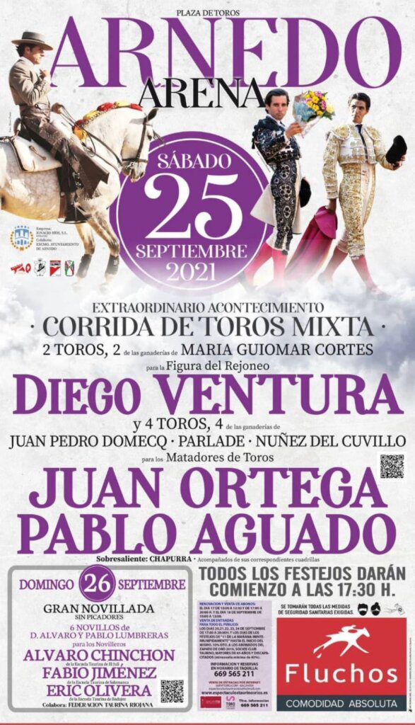 Diego Ventura e touros portugueses a 25 de Setembro em Arnedo